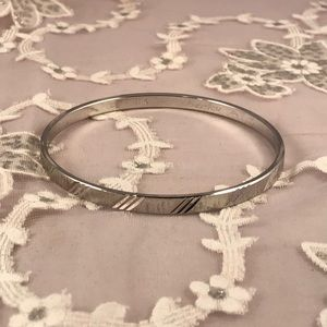 Monet Vintage Silvertone Etched Bangle Bracelet